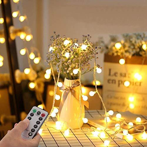 Lichterkette Kugeln 33Ft 100 LED,Globe Lichterketten mit Stecker für Innen und Außen,8modi mit Fernbedienung für die Schlafzimmerdekoration Innen,Garten,Hochzeit,Weihnachts dekoration (Warmweiß)