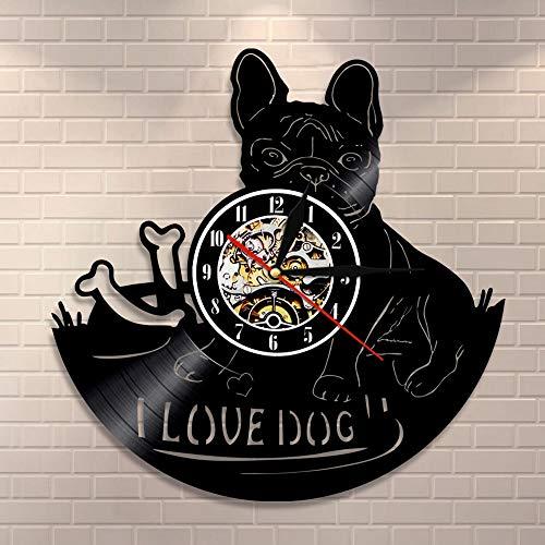 BFMBCHDJ Ich Liebe Hund Zitat Französisch Bulldogge Wanduhr Hunderasse Bulldogge Vinyl Schallplattenuhr Tier Haustier Home Decor Hündchen Geschenk Vintage Kunst
