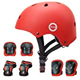 XJD ヘルメット こども用 キッズプロテクターセット 調節可能 軽量 高剛性 通気性 スケボー サイクリング 保護用 子供 自転車 プロテクター 巾着袋付き (レッド, S:48~54cm)