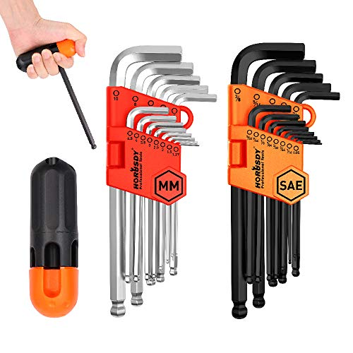HORUSDY Allen Wrench Set, Hex Key Set Long Arm Ball End Hex Wrench Set, Inch/Metric T Handle Allen Wrench Set