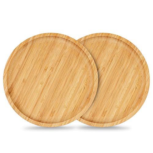 Salvamanteles de bambú, Adecuado para macetas Grandes de 15,2 a 20,3 cm, 2 Paquetes de Posavasos para macetas, Bandeja de bambú Duradera para Uso en Interiores 20 CM*2
