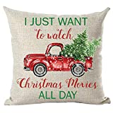 ramirar Merry Christmas Red Pickup Truck I Just Want to Watch Christmas Movies All Day Trees Decorative Throw Pillow Cover Case Cushion Home Living Room Bed Sofa Car Cotton Linen Square 18 x 18 Inches