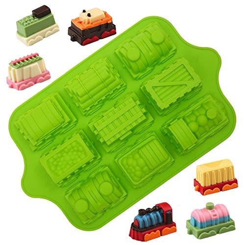 KeepingcooX 3D Cartoon Zug Form für Kinder Geburtstagsfeier | Antihaft-Silikon-Muffin-Backblech in Lebensmittelqualität | Extra dick, 39 x 24 x 5 cm, 9 Hohlräume