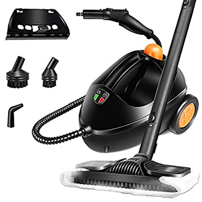 Muti-Popurse Steam Cleaner,1500w Heavy-Duty Cleaner with High Pressure Spray Gun and 1.2L Tank for Chemical-Free Cleaning for Bathroom, Kitchen, Surfaces, Carpet, Car Seats and Floor Cleaning,Black