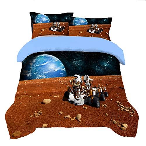 Juego de Funda nórdica para el Espacio Exterior, Juego de Cama con Estampado de Planetas Juego de Cama de Cohete y Astronauta, Ropa de Cama Suave de Lujo de poliéster-algodón,C,150 * 200cm