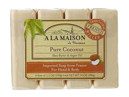 Manos y cuerpo Jabón, coco puro, 4 bares - A La Maison de Provence