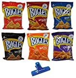 Bugles Crispy Corn Snacks Variety, Original, Hot Buffalo, Ranch, Bold BBQ, Nacho Cheese, and Sweet & Salty Churro, One 3oz Bag of Each with Make Your Day Bag Clip