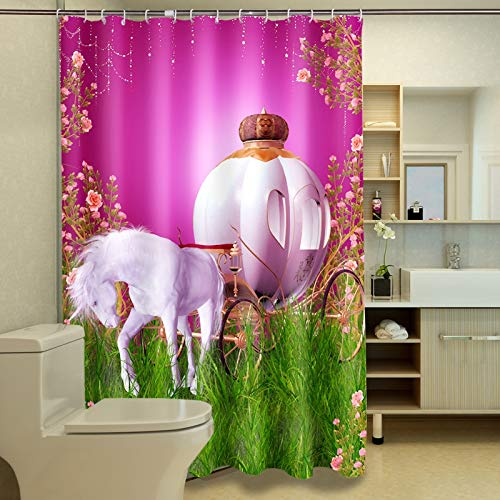 JZDH Shower Curtain for Bathroom Carriage Pattern Pink Shower Curtain, Digital Printing Waterproof Shower Curtain With 12 Hooks