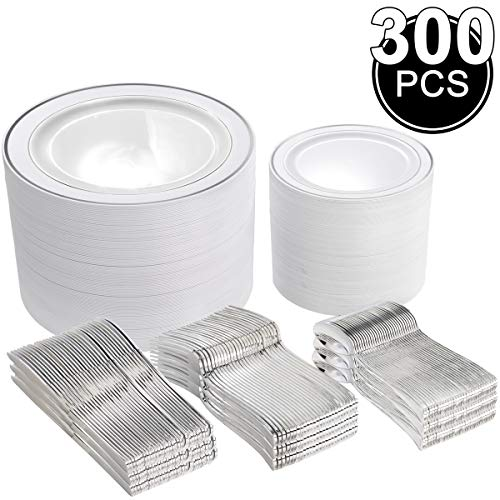 300 Pieces Silver Plastic Plates with Disposable Silverware, Fancy Tableware Sets include 60 Dinner Plates 10.25', 60 Salad Plates 7.5', 60 Forks, 60 Knives and 60 Spoons Serve for 60 Guest