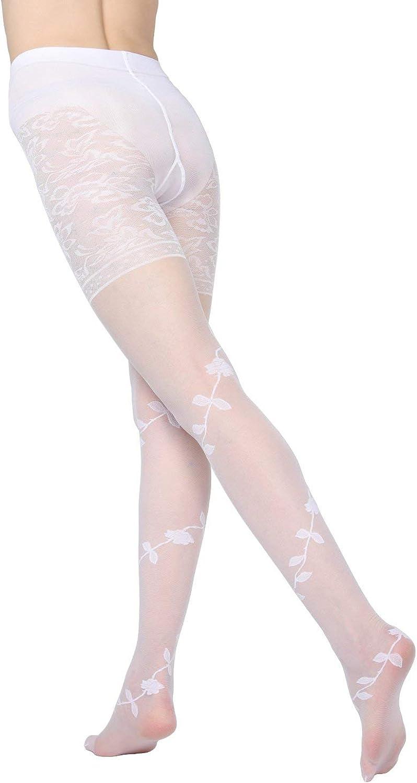MeMoi Passion Sheer Control Top Flower Pantyhose