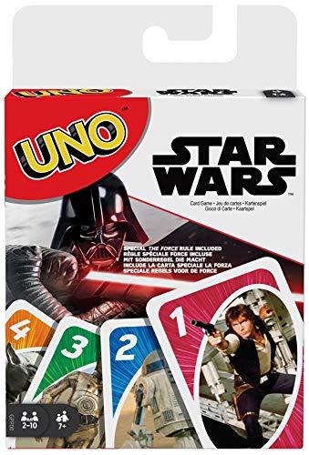 Mattel Games GPP00 UNO Star Wars mit 112 Karten zum Kampf zwischen der dunklen und hellen Seite der Macht, Kartenspiel ab 7 Jahren