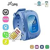 Winnes Reloj Localizador Niños GPS Localizador Niños Pulsera Pulsera Niños Seguridad GPS Reloj Niña GPS Smartwatch Niños Localizador GPS Seguimiento en Tiempo Real,Podómetro(Azulo)