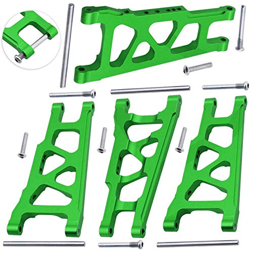 Hobbypark Aluminum Suspension A-Arms Set (Front & Rear ) for Traxxas 1/10 Slash 4x4 4WD, Stampede 4x4, XO-1 Upgrade Parts Option Hop Ups, Replace 3655X Green-Anodized (4-Pack)