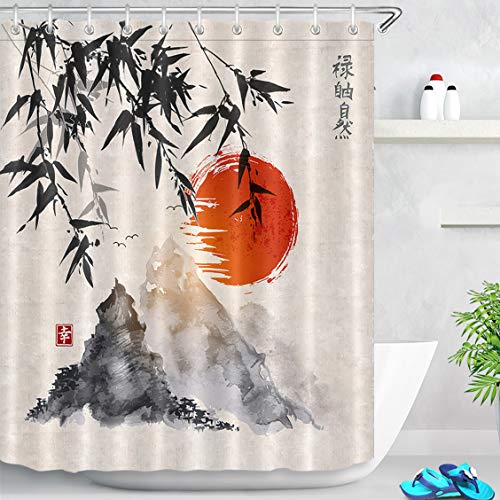 LB Cortina de Ducha de Tinta Japonesa con Ganchos, Cortinas de baño de árboles de bambú Sol montañas Sistema de decoración Resistente al Agua y Moldeado de poliéster de 150x180 cm