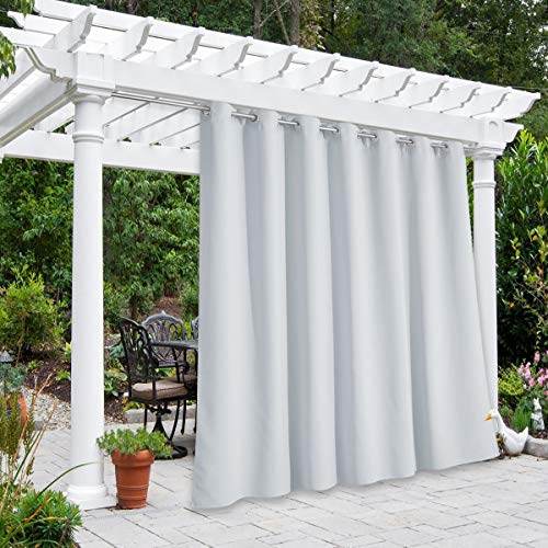 NICETOWN Outdoor Divider Patio Curtain Waterproof for Public Space, Thermal Insulated Rustproof Grommet Room Darkening Panel Safe for Yard/Arbor, Greyish White, 1 Panel, W100 x L84