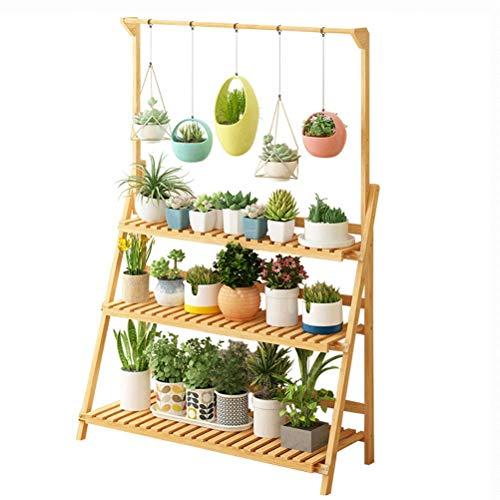Cadre de fleur en bois massif salon balcon viande rack multi-couche pliant pot de fleurs rack bambou bambou intérieur spécial économiser de l'espace (taille : Three-layer-70cm, style : B)