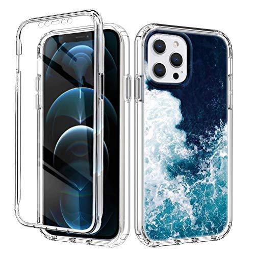 Yoedge Funda para Apple iPhone XS MAX 6,5',360 Grados Transparente Antigolpes Carcasa,PC Dura Bumper + TPU Silicona Case con Dibujo Animado,Pantalla Protector Cover para iPhone XS MAX,Olas de mar