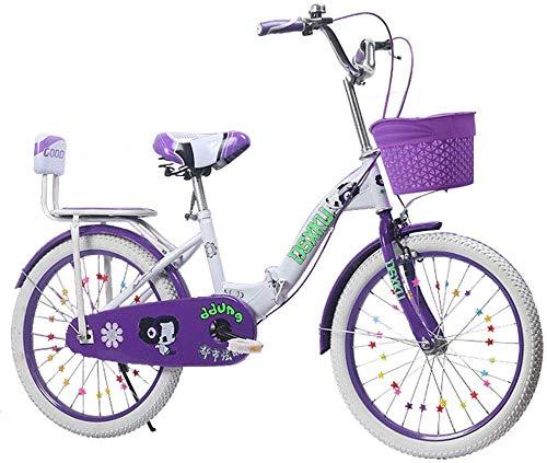 Pkfinrd Pieghevole Uomini e Donne Folding Bike - Biciclette for Bambini Pieghevole 6-18 Anni Principessa Biciclette 18-22 Pollici for Bambini Piedi Bicicletta, Rosa, 20inches