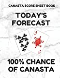 Canasta Score Sheet Book: Scorebook of 100 Score Sheet Pages For Canasta Games (Includes both American and Classic Rules), 8.5 By 11 Inches, Funny Forecast White Cover