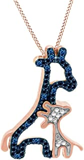 AFFY Blue & White CZ Mom & Baby Giraffe Pendant Necklace in 14K Gold Over Sterling Silver