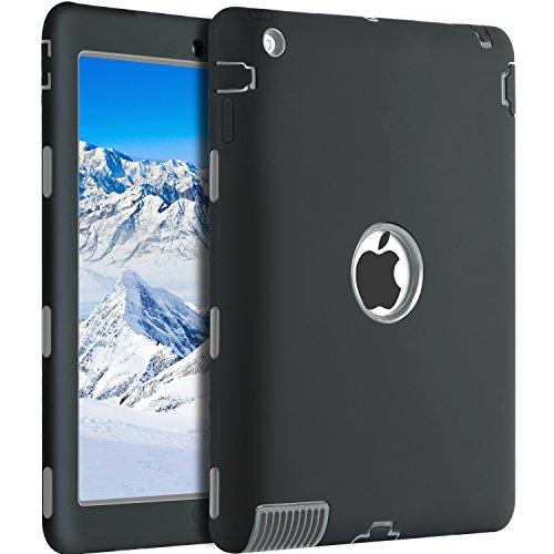 BENTOBEN Silicone Case for iPad 2, iPad 3 Case Kids, iPad 4 Case Shockproof, Three Layer Hybrid Hard PC Soft TPU Bumper Heavy Duty Full Body Protective Case Covers for iPad 2/3 / 4 - Black/Gray