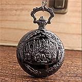 LEYUANA Reloj de Bolsillo de Lobo de Bronce Exclusivo para Mujer, Colgante de Collar de Madre y bebé de Lobo Regalos de Cadena Reloj de Cuarzo Unisex Negro