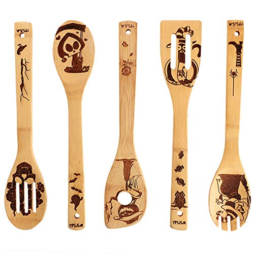 YPSJSM Organic Bamboo Spoons Halloween Nightmare Pattern Burned Wooden Spoons for Cooking Wood Spoon Wooden Kitchen Utensil Set,Halloween Kitchen Decorations Gifts For Chefs & Foodies Hostess