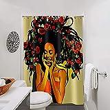 African Black Girl Magic Duschvorhang Queen abstrakt Stil Badezimmer Vorhang Polyestergewebe Wasserdicht 12 Pack Haken Duschvorhang Set (Blumen im Haar)