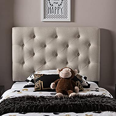 Baxton Studio Viviana Modern And Contemporary Fabric Upholstered Button-Tufted Headboard Beige/Twin/Contemporary