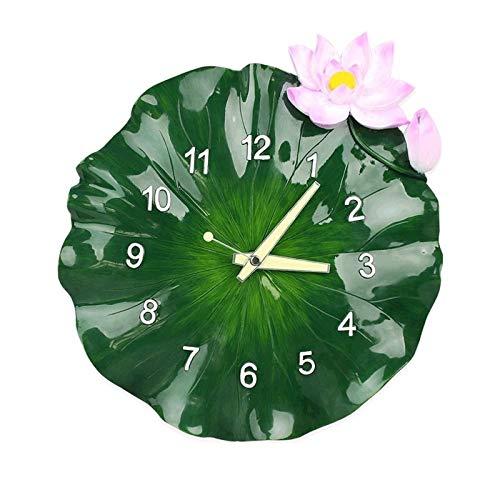 Auoeer Creativo Chino Reloj de Pared de la Sala de Estar Dormitorio Principal Pendiente Moderna de Estilo Chino de Hoja de Loto Estéreo Reloj (14 Pulgadas de Ancho 37CM del  Alta 35cm)