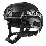 OUMIFA Casco Ajustable Casco rápido Protector Paintball Wargame Casco Ejército Airsoft Táctico Casco Bump Combate Protective Engranaje Cabeza Protector Bicicleta de Carretera (Color : Black)
