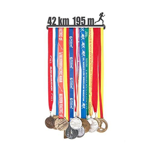 Porte-médaille avec médaille - Nom : 42 km - 195 m - pour Femmes - 28 cm - Médailles de Suspension : jusqu'à 20 - Acier recouvert de Poudre Noire.