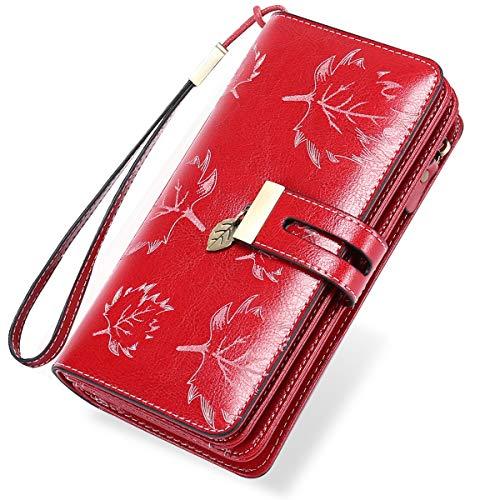 LUROON Carteras Mujer Piel, Monederos Mujer Cuero Gran Capacidad con 24 Ranuras para Tarjetas Bloqueo RFID Billeteras Mujer de Elegante y Moda Billetera Larga Mujercon Cremallera (Rojo 02)
