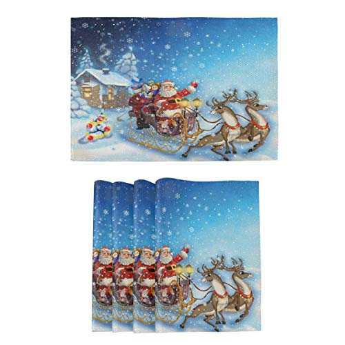 yyndw Placemats Set Santa Claus In Sleigh With Reindeer Dining Merry Christmas Burlap Part Classic Tablemats Place Mats Colorful 45Cm X 30Cm Kitchen Table Mat Placemats Set Placemat Set