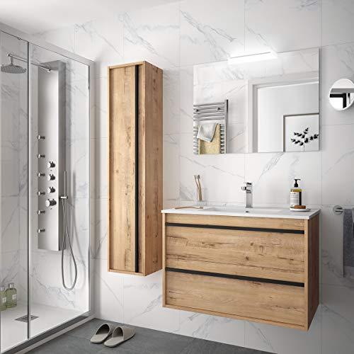 Yellowshop. - Mobile Bagno sospeso Attila 100 Legno con lavabo Specchio LED e Colonna Varie Colorazioni (Ostippo (Completa + Colonna))