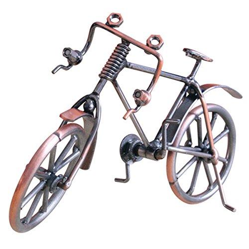 Oyamihin Bici Antica Modello in Metallo Artigianato Decorazione per la casa Miniatura per Figurine per Biciclette Regali di Compleanno per Bambini Giocattoli Espositore da Tavolo - Colore Rame