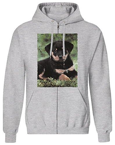 Harma Art Rottweiler Welpe - Rottweiler Puppy Zipper Hoodie Jumper Pullover for Men 100% Soft Cotton Mens Clothing Small