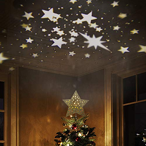 EAMBRITE 9' Hollow Gold Star Christmas Tree Topper with Rotating Magic Warm White Star Projector for Xmas Tree Decoration