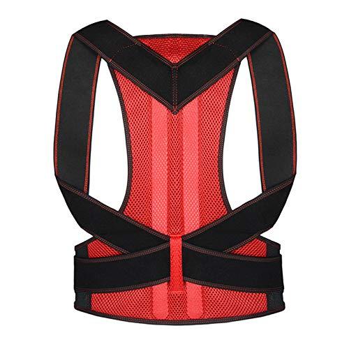 ZEIYUQI Corrector De Postura De Cintura Trasera Ajustable Cinturón De Corrección para Adultos Entrenador Hombro Lumbar Soporte De La Columna Vertebral Chaleco Cinturón,Red-Large