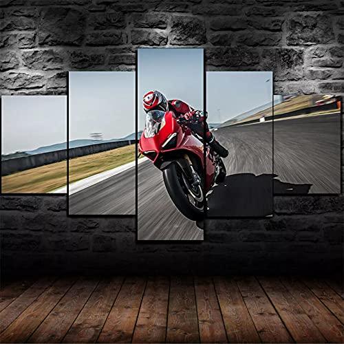 Póster de bicicleta de carreras de motocicletas 5 Impresión en lienzo Arte de la pared Decoración HD Imagen del hogar Pintura Sala de estar 5 Paneles, 200Cm × 100Cm, Enmarcado