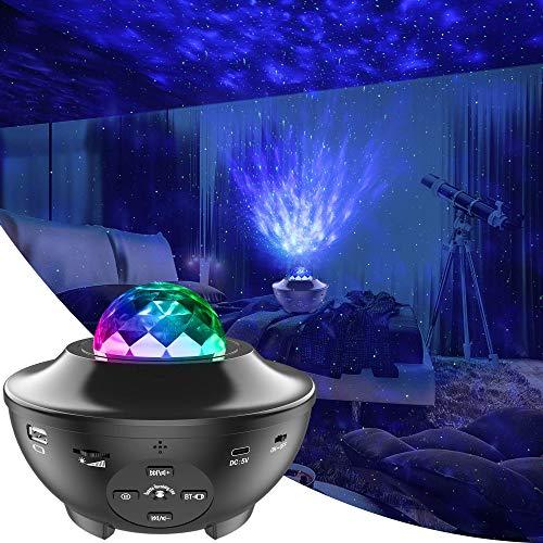 LBell Lámpara Proyector Lámpara de Nocturna Estrellas & Océano 2 in 1 con Rotación y Música Temporización y Remoto Bluetooth 10 Modos de Luz planetario proyector estrellas para Cumpleaños y Fiesta