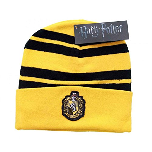 Harry Potter Mütze Beanie Hufflepuff House crest Logo patch Nue offiziell