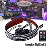 Car Underglow Lights,Underbody Lighting Kit 12V RGB Led Strip Lights for Cars Neon Strip Lights 5050 SMD Multi Color Atmosphere Decorative Lights Strip Sound Active Wireless Remote Control(90-120cm)