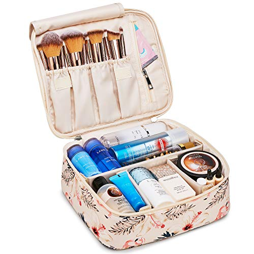 Travel Makeup Bag Large Cosmetic Bag Make up Case Organizer for Women and Girls (Beige Flamingo)
