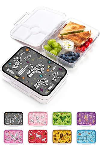 JARLSON® Brotdose für Kinder mit 4 Fächern - Lunchbox aus Tritan - Bento Box auslaufsicher – Jausenbox für Kindergarten und Schule - Mädchen und Jungen - 850ml (Astronaut)