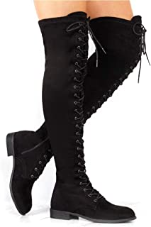 Women's Over The Knee Low Heel Lace Up Tall Boots