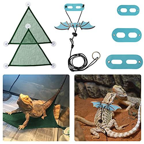 zootop Hamaca de reptiles con correa y arnés de dragón barbudo ajustable de cuero suave alas portador de traje lagartija triangular colgante malla transpirable hamaca juguetes pequeños para mascotas