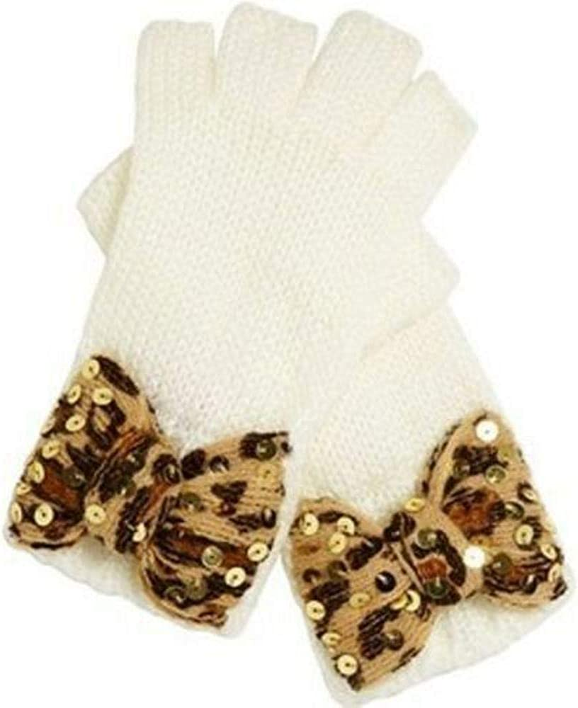 Betsey Johnson Women's Bow Leopard Fingerless Gloves, Cream, O/S