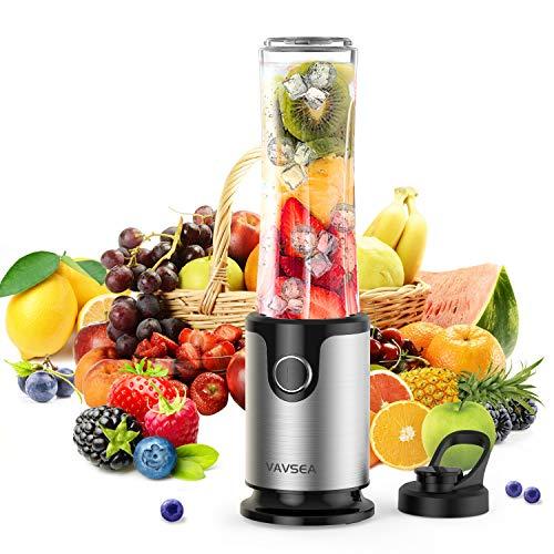 VAVSEA Standmixer Mini Smoothie Maker, Blender elektrisch mit Tragbarer BPA-freie 500ML Tritan-Kunststoff Flasche, Zerkleinerer,Shake Mixer 300 Watt, 20.000 U/Min (Silber grau)