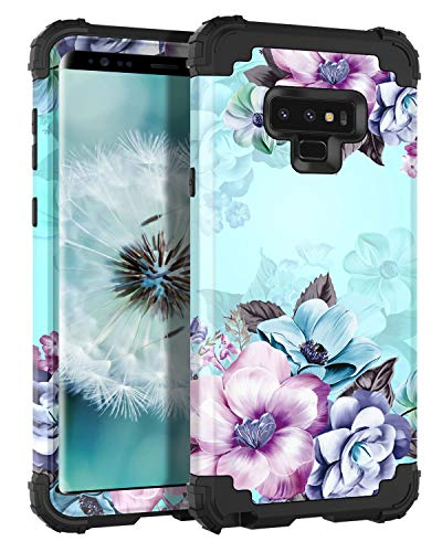 Casetego Compatible Galaxy Note 9 Case,Floral Three Layer Heavy Duty Hybrid Sturdy Shockproof Full Body Protective Cover Case for Samsung Galaxy Note 9-Blue Flower